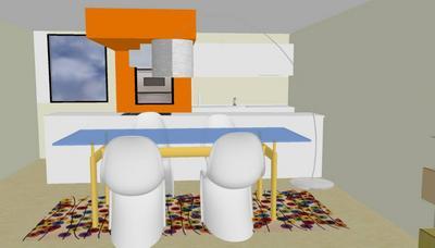 Progetto cucina soggiorno tiziano casesa t c interior for Progetto cucina soggiorno
